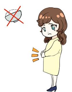 ごはんを我慢している女の子の図
