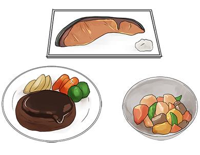 好きな食べ物を思い浮かべている女の子たちの図