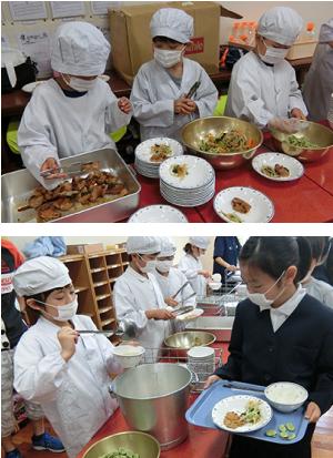 写真:学校給食配膳の様子