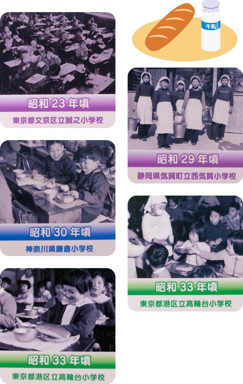 昭和23年ごろ〜昭和33年ごろの学校給食の写真